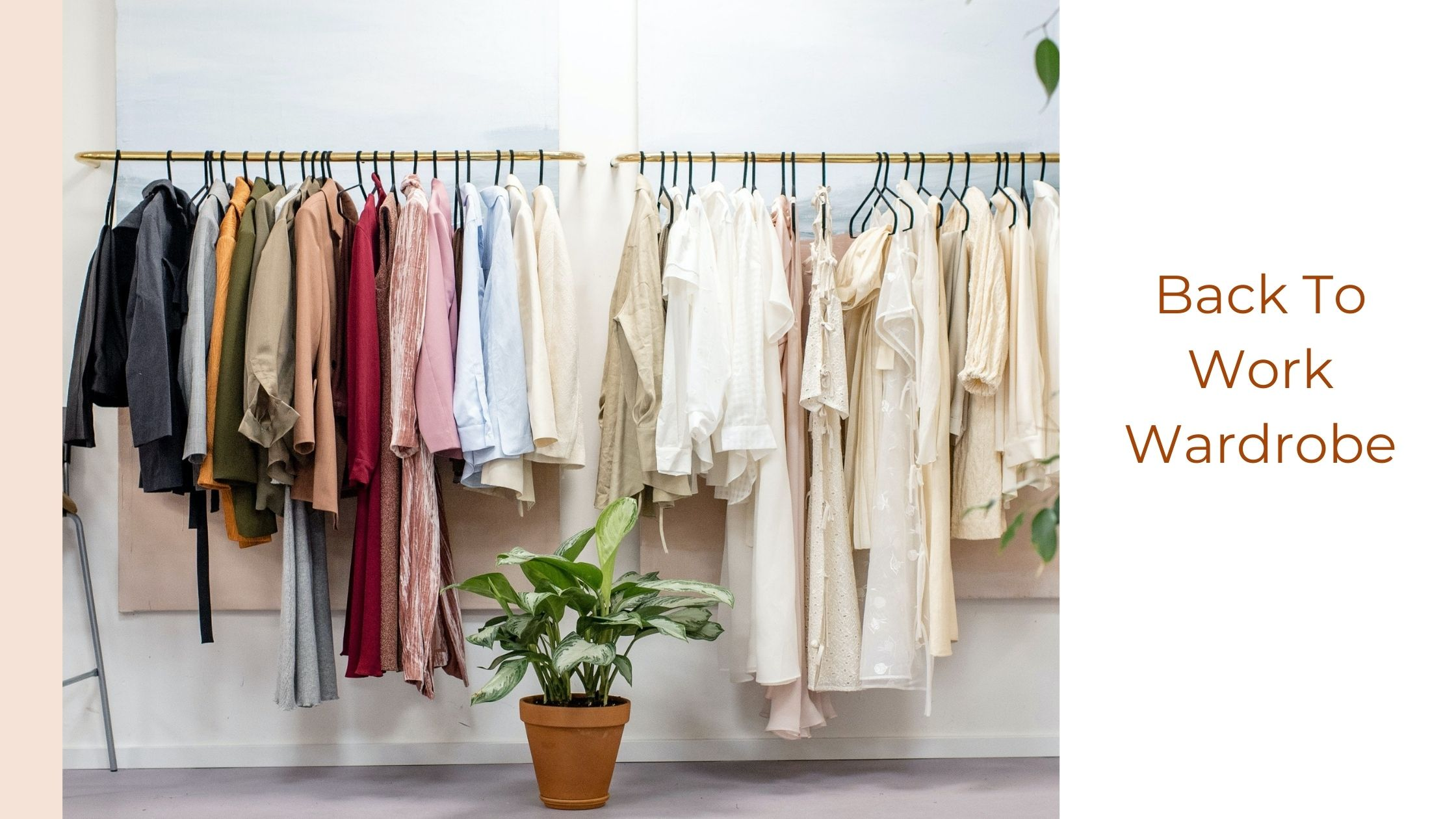 """Back to work wardrobe - A poster with an image of clothes hanging from hangers in the middle. There's a light pink banner on the left across the poster. At the top the text: Back to work wardrobe. On the left side there's text stating """"Our Stories"""". Underneath the picture is www.mauda.co.uk."""