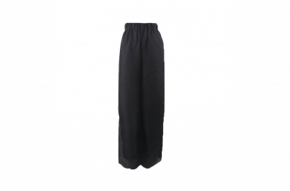A pair of black trousers over a white background.
