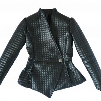 A black quilted asymmetrical jacket over a white background.
