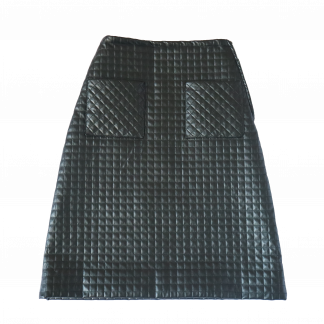 A black A-line knee length quilted skirt. over a white background.